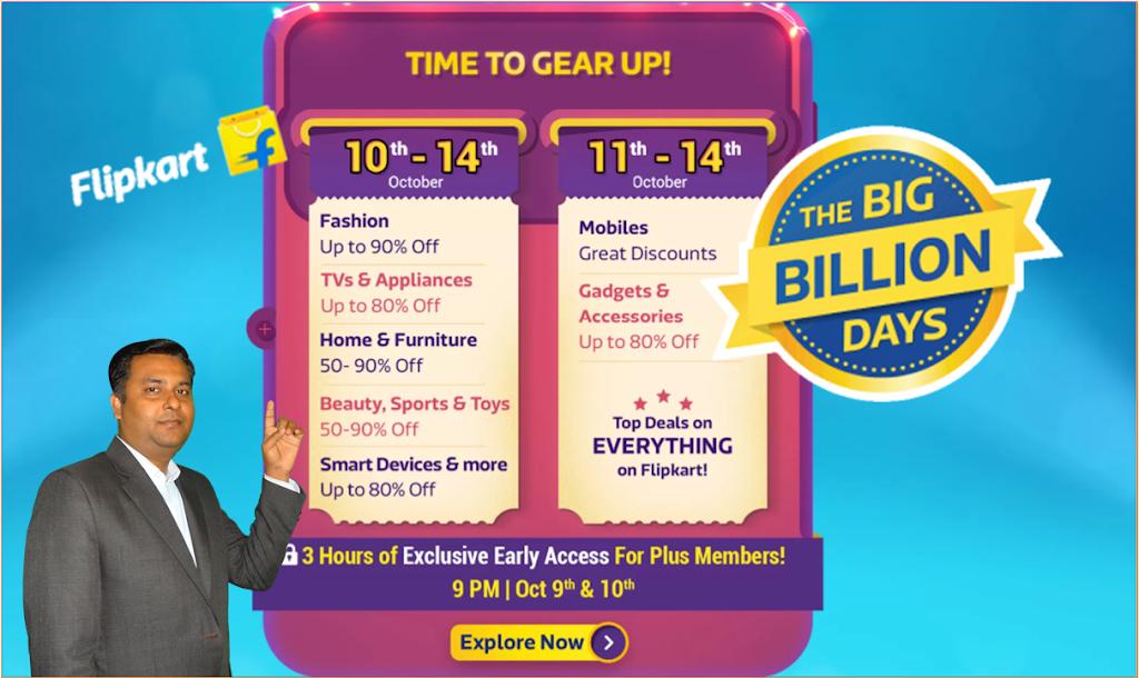 Flipkart The Big Bililon Days Sale (TBBD 2018) | 10th Oct – 14th Oct Biggest Sale on Flipkart